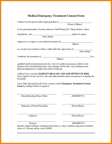child information form template 14 free printable child consent form letter