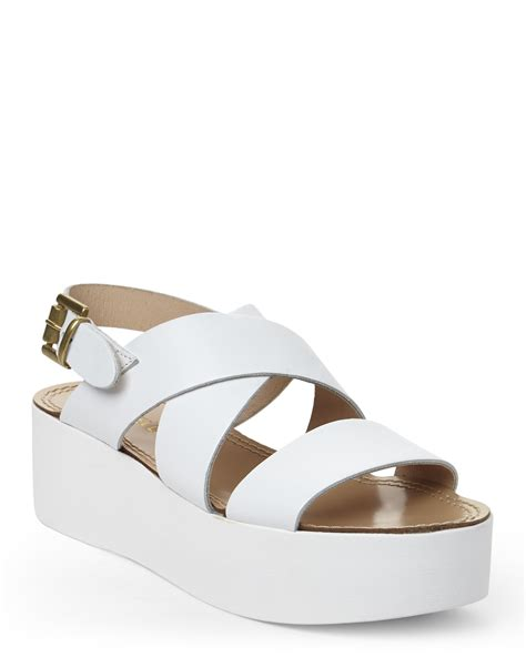 lyst gabriella white platform sandals in white
