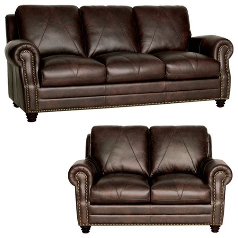 genuine leather sofa and loveseat genuine italian leather sofa and loveseat in chocolate
