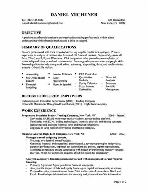 entry level financial analyst resume printable planner