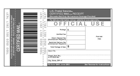 mail receipt template shows form 3800 certified mail receipt
