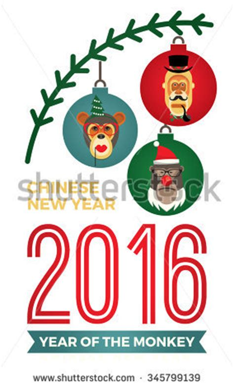 new year monkey element vector illustration monkeys symbol 2016 trendy stock