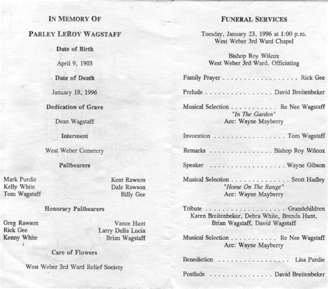 Graveside Funeral Service Outline by Parley Eliza Wagstaff Sagacity