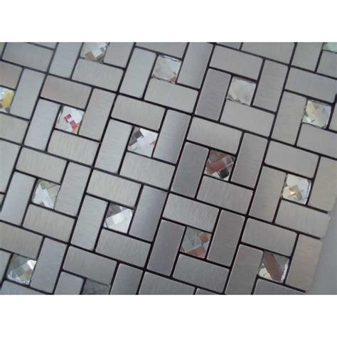 grid pattern backsplash adhesive mosaic tile silver brushed aluminum metal glass