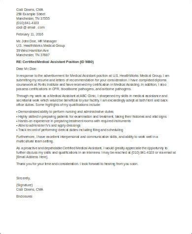 cover letter certified assistant sle cover letter for assistant 8 exles in