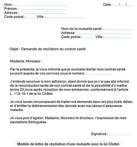 Resiliation Assurance Modele Lettre Type modele lettre de resiliation mutuelle