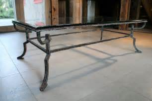 Iron And Glass Coffee Table Distressed Iron Glass Top Coffee Table At 1stdibs