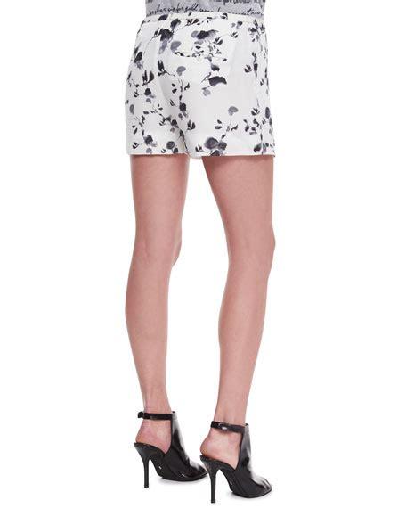 Floral Print Drawstring Shorts haute hippie boyfriend button front blouse floral print