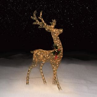 60 Quot In Gold Glitter Reindeer Lighted Christmas Outdoor Outdoor Deer With Lights