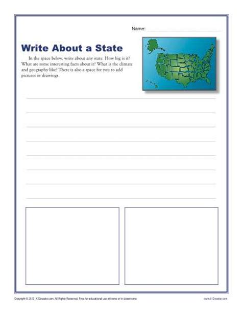 write about a state 1st and 2nd grade writing prompt