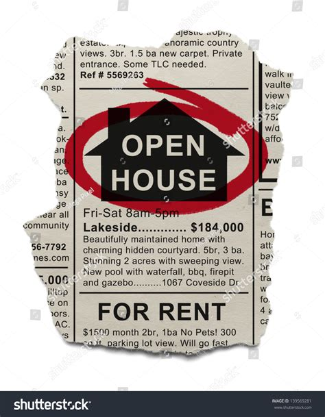 open house ad real estate open house ad circled with red marker isolated on white background stock