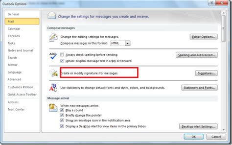 change email signature in microsoft outlook 2010