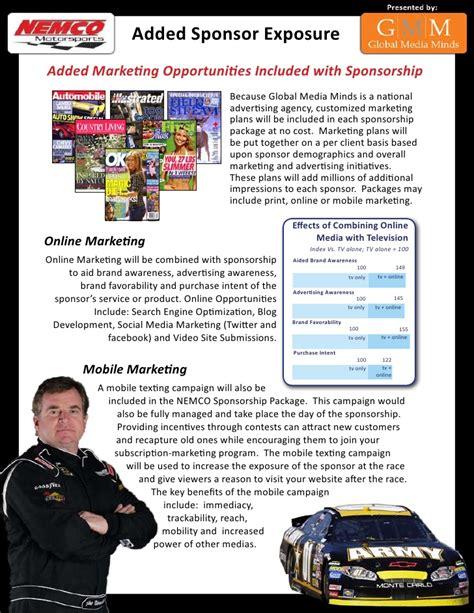 drag racing sponsorship template nascar sponsorship package