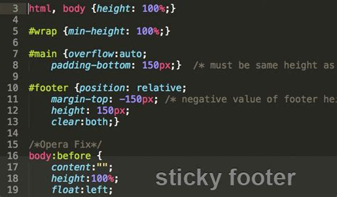 html layout footer bottom css sticky footer sticks your footer to the bottom of the