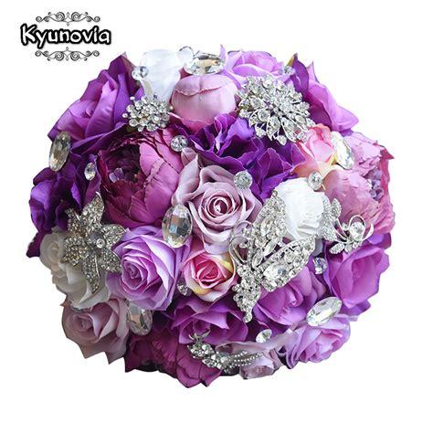 Wedding Bouquet Violet Roses by Kyunovia Silk Wedding Flower Artificial Bouquet
