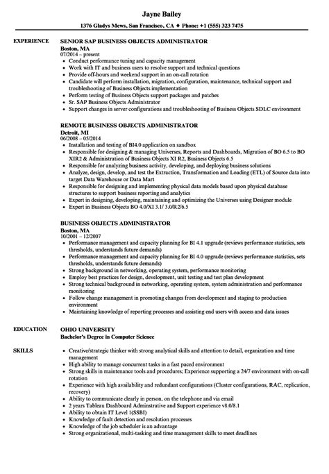 business objects careers business objects administrator resume sles velvet