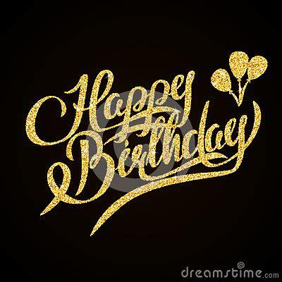 happy birthday gold glitter hand lettering on stock