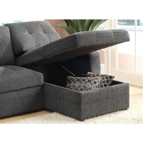 Coaster Sleeper Sofa by Coaster Chenille Sleeper Sofa With Storage In Charcoal And