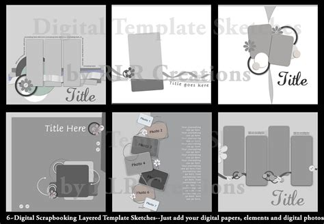 Digital Scrapbooking Layered Photoshop Templates 3 Psd Ebay 12x12 Digital Scrapbook Templates