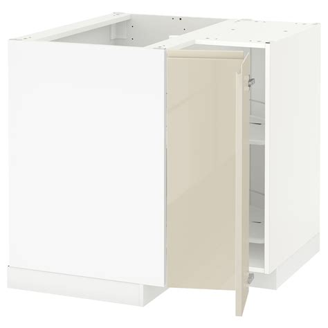 Ikea Corner Cabinet Kitchen Metod Corner Base Cabinet With Carousel White Voxtorp High Gloss Light Beige 88x88 Cm Ikea