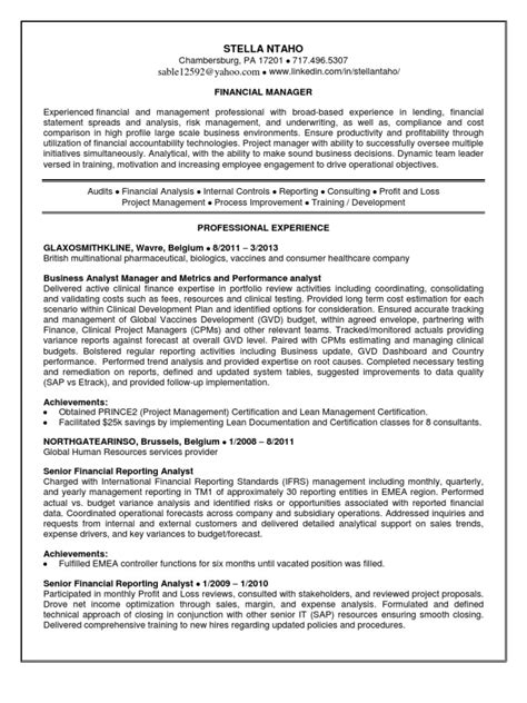 Financial Reporting Manager Sle Resume by Financial Reporting Manager In Washington Dc Resume Stella Ntaho Docshare Tips