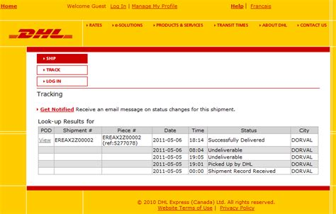 dhl shipping tracking