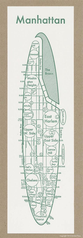 sections of manhattan map letterpress manhattan map minimalist print neighborhood