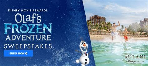 Adventure Sweepstakes - disney movie rewards olaf s frozen adventure sweepstakes win a vacation for 4 in hawaii