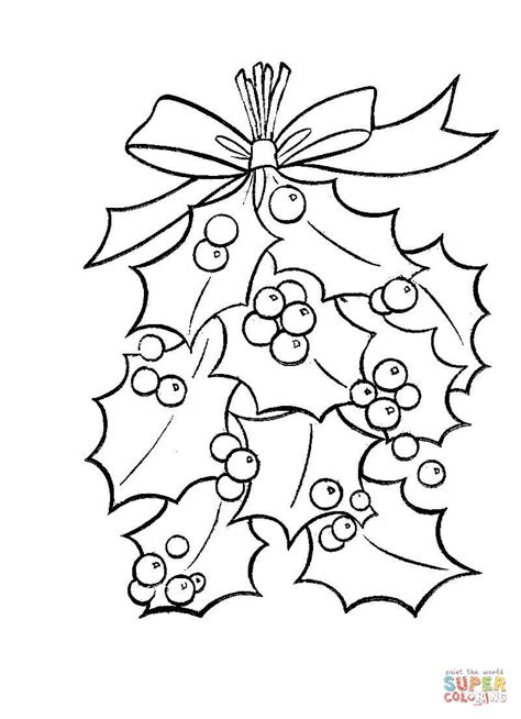 holly tree coloring page holly leaves with bright red berries coloring page free