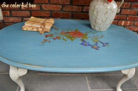 the custom blue chalk painted and stenciled coffee table paperblog