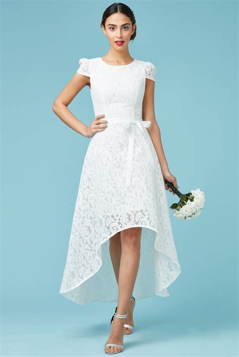 White Tie Wedding Dresses by Asymmetric Lace Maxi Wedding Dress With Ribbon Tie White