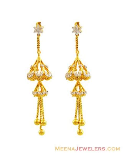 gold jhumka pattern 22k cz studded long jhumka earrings erfc14000 22kt