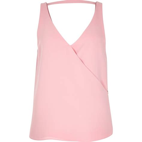 Light Pink Top by River Island Light Pink V Neck Wrap Sleeveless Top In Pink