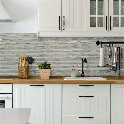 White Wood Kitchens cr 233 dence de cuisine adh 233 sive smart tiles