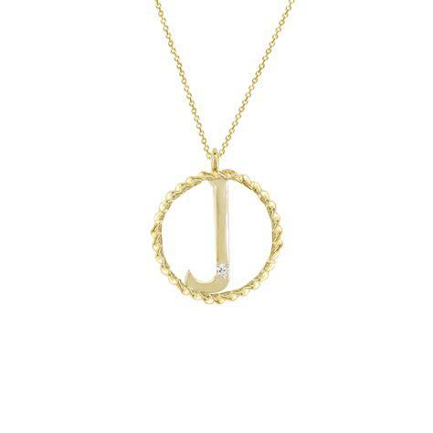 Yellow Gold Diamond Initial J Pendant   London Road Jewellery