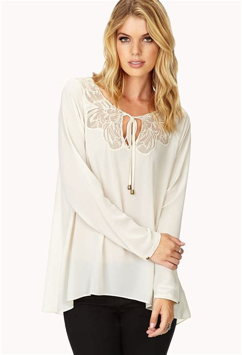 Forever Blouse forever 21 lace blouse in white lyst