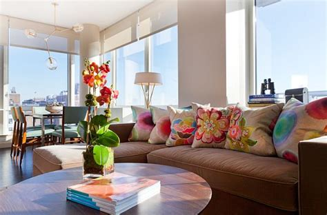 colorful living room contemporary new york city condo stuns with color and panoramic views of manhattan