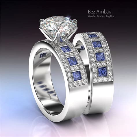Wedding Rings With Sapphires And Diamonds by Blue Sapphire Wedding Ring Set Windows
