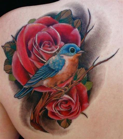 bird and rose tattoo shoulder realistic flower bird by junkies tattoos
