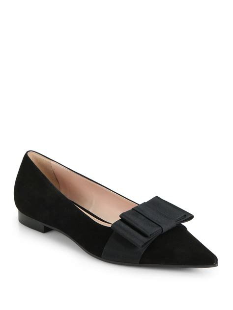 bow shoes flats miu miu suede bow pointtoe ballet flats in black lyst