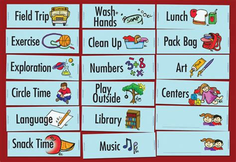 printable visual schedule for kindergarten printable preschool visual daily schedule