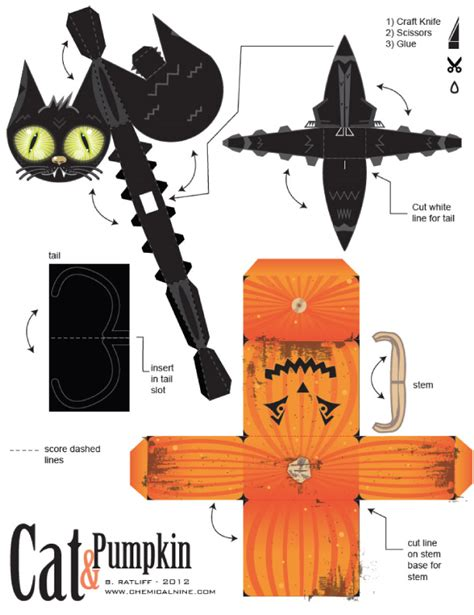 printable japanese paper crafts cubes gato e abobora