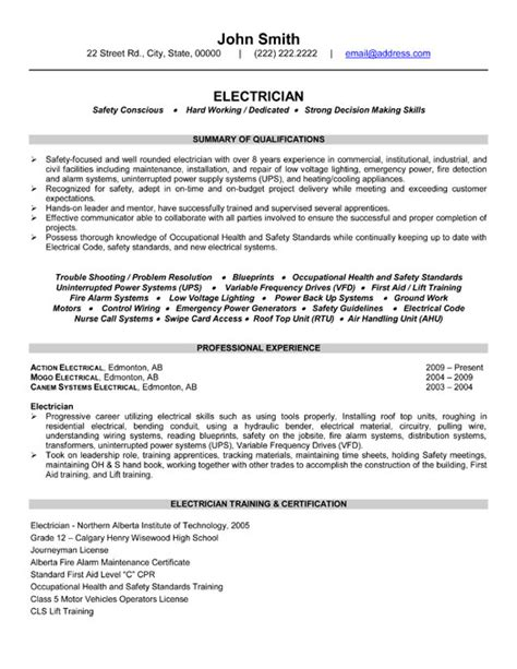 Electricians Resume Template by Industrial Electrician Sle Resume Search Results