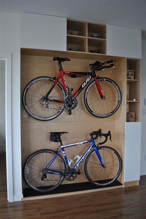 excellent wooden platform design  home bikes storage