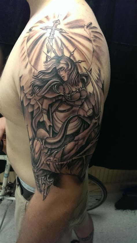 angel sleeve tattoos for men left half sleeve for