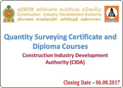 Ecu Mba Certificates by Quantity Surveying Certificate And Diploma Courses Cida