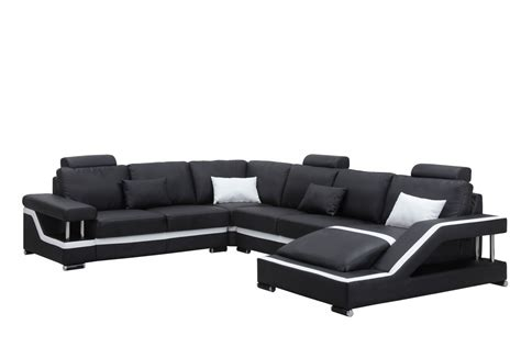 black leather modern sectional 3814 modern black leather sectional sofa