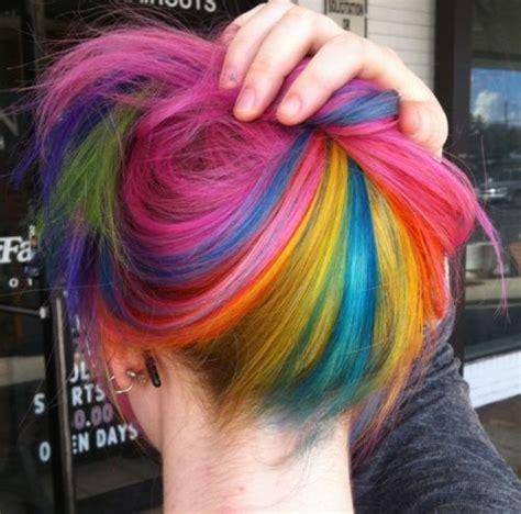 dyed hairstyles short hair rainbow hair color strayhair