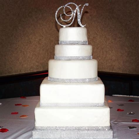 rhinestone cake toppers for wedding cakes bling rhinestone wedding cake monogram cake topper