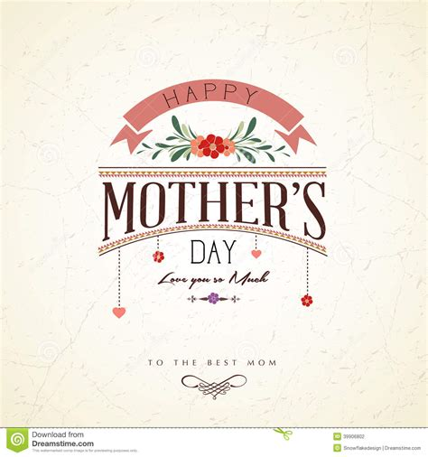 vintage s day vintage happy mothers day card stock vector image 39906802